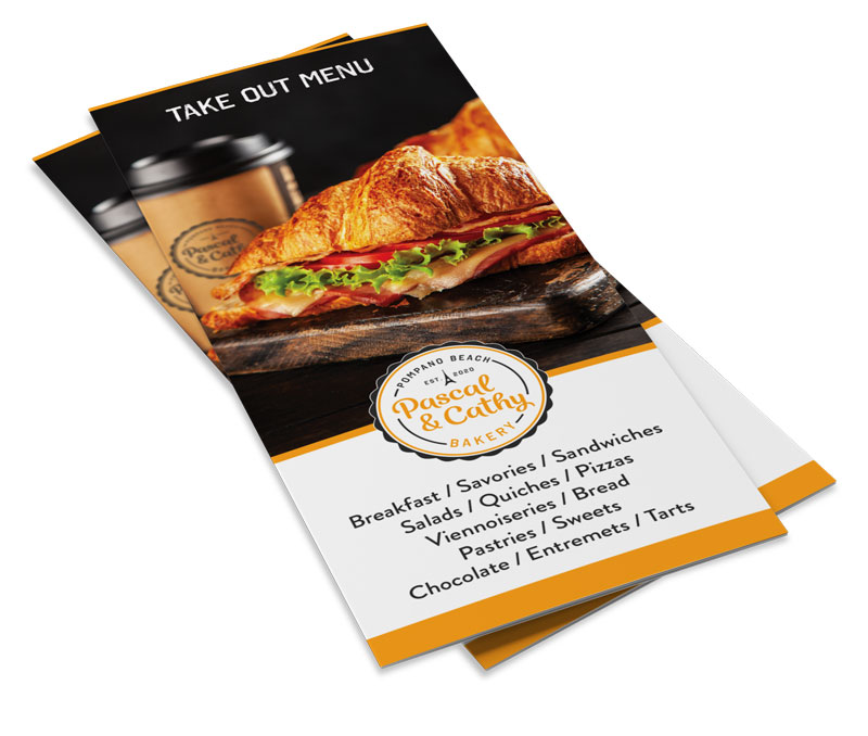 Pascal and Cathy Bakery take out menu