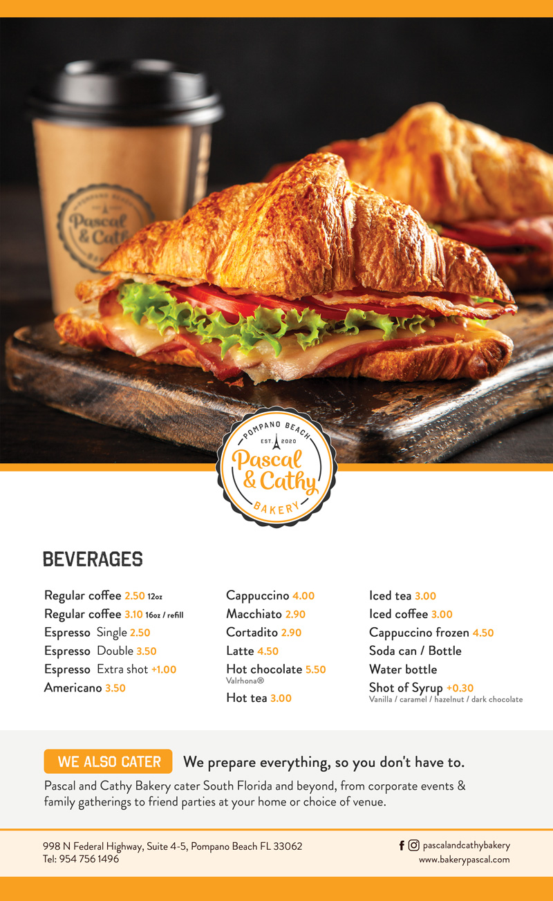 Pascal and Cathy Bakery menu
